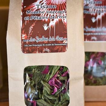 Tisane à la menthe sauvage et aux pétales de rose en sac de 20g